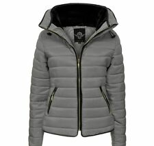 Womens Ladies Quilted Padded Puffer Bubble Fur Collar Warm Jacket Coat 8 - 16