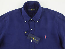 Men's RALPH LAUREN Navy Blue Linen Shirt XL Extra Large NWT NEW $125+ Pink Pony