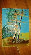 "Morris Katz Original Oil Painting 5"" x 7"" Signed 1983 ""TWO AUTUMN BIRCH TREES """