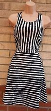 H&M WHITE BLACK STRIPE STRIPED NAUTICAL SKATER FLIPPY A LINE TEA RARE DRESS S