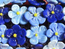 Vintage BEADED CZECH Czechoslovakia Glass blue Flowers Brooch Pin