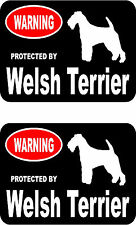 2 protected by Welsh Terrier dog car bumper home window vinyl decals stickers