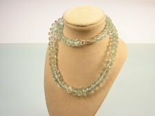 VINTAGE STERLING SILVER GREEN AMETHYST GEMSTONE BEAD NECKLACE 46CM LONG [KAG31]