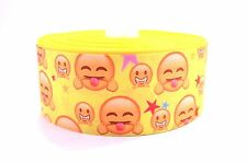 "3"" Wide Bright Yellow Scary Emojis Printed on White Grosgrain Cheer Bow Ribbon"