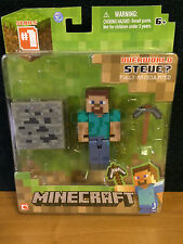 """Minecraft Overworld Fully Articulated 3"""" Steve Action Figure with Accessory- NEW"""