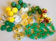 #1643 Vintage Assemblage Lot Beads Flowers Shabby Floral Cabochons Chic Destash