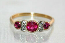 Exquisite ART DECO C1920 18CT GIALLO ORO Ruby & DIAMOND RING UK T noi 9 3. / 4