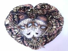 COPPER GOLD DOUBLE JOKER VENETIAN MASQUERADE MARDI GRAS MASK DECORATIVE MASKS