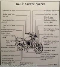 KAWASAKI Z750 Z750B KZ750 KZ750B TWIN DAILY SAFETY CHECKS CAUTION WARNING DECAL