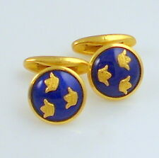 Estate Vintage SPORRONG Three Crowns Blue Enamel Gold Tone Cufflinks Cuff Links