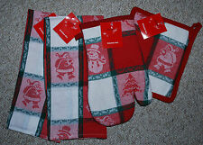 SET 4 CHRISTMAS KITCHEN DISH TOWELS/MITT/POTHOLDER/SANTA/JACQUARD PRINT/ NWT