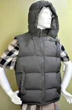 Burberry Brit Mens Check Nova Check Olive Vest Puffer Coat Leather Down Size XL
