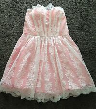 Beautiful White Lace / Pink Dress Suitable For Wedding/prom/ball Approx Size 10