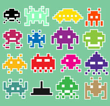 Space Invaders Sticker Bomb Vinyl Decal 16x Pack Retro Arcade Gaming Gamer Geek
