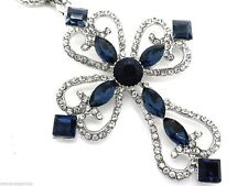 Cross Pendant Necklace Women's Blue Crystals Silver Chain Crystal New