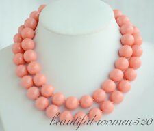Z6582 2strands 16mm coral pink round SOUTH SEA SHELL PEARL NECKLACE
