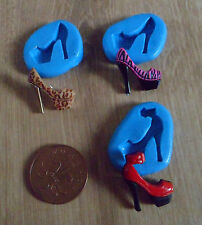 NEW SET 3 FUNKY SHOES LEOPARD ZEBRA SUGARCRAFT FIMO POLYMER CLAY MOULD MOLD