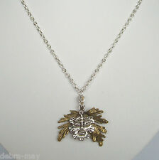"Green Man & Bronze Leaves Pendant 18"" Chain Necklace ~ Gift Bag"