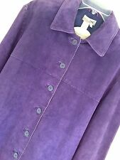 NWT Size XL  Coldwater Creek Plum Purple Suede Leather Jacket Coat