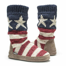NWT Muk Luks Vanessa AMERICAN FLAG Fleece-Lined Sweater Slipper Boots L 9/10 Red