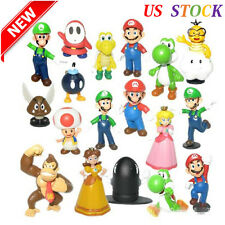 """Lot 18 pcs Super Mario Bros Brother 1.5~2.5"""" Mario Action Figure Toys Doll New"""