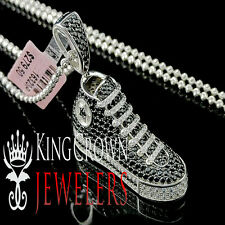 Sneakers White Gold Finish Mens Silver Lab Diamond Shoe Pendant Charm Chain Set
