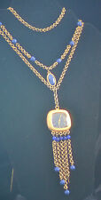 Watch & Necklace with Mixed Material w/Lapis Lazuli Baroness 17 Jewel's wind-up