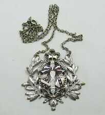 ALSACE LORRAINE ANTIQUE FRENCH SILVER PLATED ENAMEL NECKLACE BROOCH MEDALLION