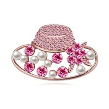 18K ROSE GOLD PLATED AND GENUINE PINK CZ & AUSTRIAN CRYSTAL & PEARL HAT BROOCH