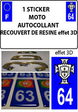 1 sticker plaque immatriculation MOTO TUNING 3D RESINE  FPF PORTUGAL DEPA 64