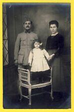 cpa Carte Photo Couple Enfant MILITAIRE SOLDAT du 219e Régiment Pose Photographi