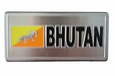 BHUTAN COUNTRY FLAG-SILVER LICENSED STICKER FLAG PLATE..SIZE: 6 X 3 INCH