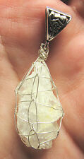 Cat's Eye Petalite Sterling Silver Hand Wrapped Crystal Angel Pendant #12A