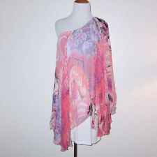 Analili Pink Purple Geometric Silk Chiffon One Shoulder Mini Dress OS Fits Small