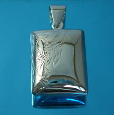 Solid 925 Sterling Silver Square Locket Puff Pendant Chain Necklace Boxed