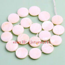 20mm Natural White Shell Coin Shape DIY Gemstone Loose Beads Strand 15""