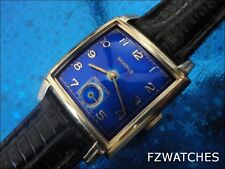 Exquisite 1960s Vintage Mans Benrus Hand Wind Stunning Blue Dial Just Serviced