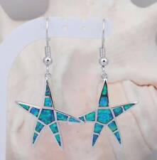 ***UK SELLER** Silver/Rhodium Plated BLUE  FIRE OPAL STARFISH Earrings 40x25mm
