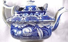 Staffordshire Lidded Teapot Fruit Floral Blue Transferware SLEIGH C. 1820-1830's