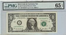 2013 $1 FEDERAL RESERVE NOTE FROM THE 2014 COIN & CURRENCY SET   PMG 65