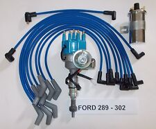 SMALL BLOCK FORD 289-302 BLUE Small HEI Distributor,40k COIL & SPARK PLUG WIRES