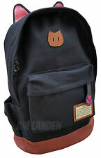 AM Landen Super Cute Light Weight Canvas CAT Ears Laptop Backpack(Black)