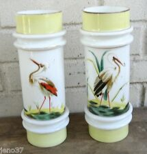 Outstanding Antique Pair Hand Painted Bristol Glass Vases Great Bird on Each