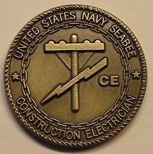 US Navy Seabee CB Construction Electrician CE Rate Navy Challenge Coin