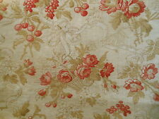Antique Roses Basket Bows Soft Red Pink Brown Cotton Fabric ~pillow quilt dolls
