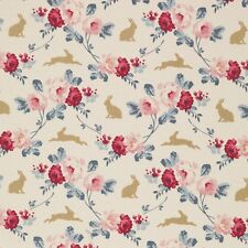 Tilda ~ Cabbage Rose Rabbit and Roses Slate Blue Fabric / quilting nursery pink