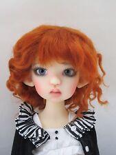 Monique SOPHIA Mohair Wig Dark Carrot Size 8-9 BJD shown on Kaye Wiggs Mei Mei