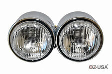 Chrome Twin Headlight Motorcycle Double Dual Lamp Street Fighter Naked Dominator