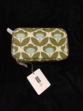 Orla Kiely Tulip Cosmetic Bag Flower Stem Make Up White Blue Green Double Zipper