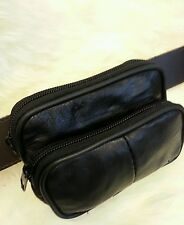 Soft Black Leather pouch with  belt loop money coin holder travel